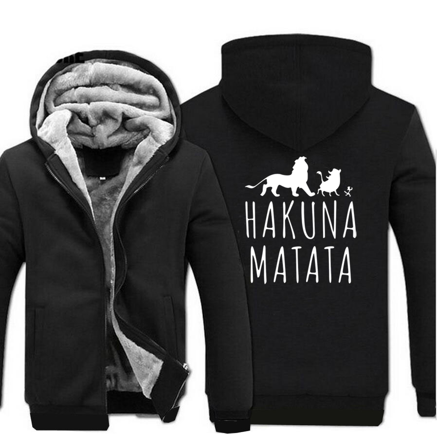 HAKUNA MATATA Cartoon Lion Printed Hooded Men 2018 Winter Thick Fleece Mens Sweatshirts Hoodies Slim Fit Hip Hop Jacekt Male