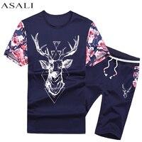 ASALI New Fashion 2017 Summer Casual Suits Men Tracksuit Summer T Shirt Shorts Men Sets Cotton