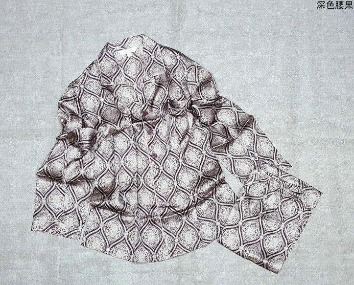 100% Mulberry Silk Pajamas Suit, Men's Silk Home Wear, Long Sleeve Trousers, Dark Fruit Printing, Big Size, Soft Explosion 8
