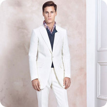 Ivory Men Wedding Suits Slim Fit Suits Man Blazers Wide Peaked Lapel Groom Tuxedo Terno Masculino Prom Suit Evening Party 2Piece ivory prom party suits man blazers men suits for wedding groom wedding tuxedo shawl lapel slim terno masculino 2piece coat pants