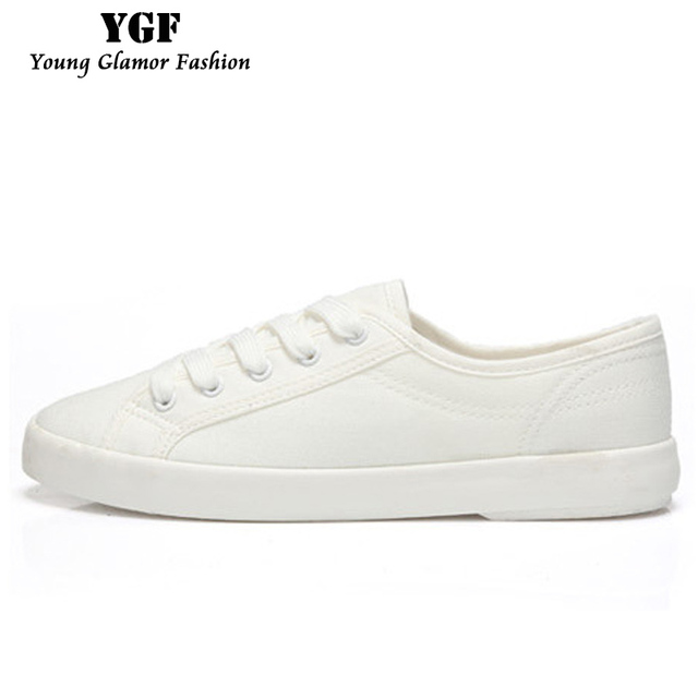 YGF 2017 Fashion Women White Canvas Shoes Breathable Casual Low Flats Leisure Shoes High Quality Women Lace-up Vulcanize Shoes