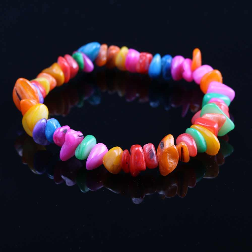 Hot Sale Natural Shell Bracelet Colorful Charms Elastic Rope Colorful Bracelets Gift for Girl Friend