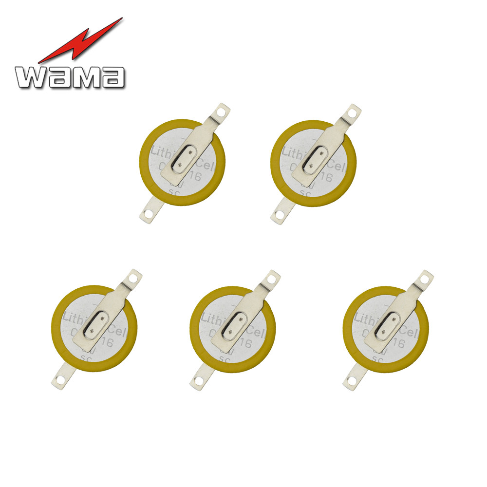 5x Wama CR1616 Button Cell Batteries Tabs 3V 2 Feet Welding Solder Pins 50mAh 1616 ECR1616 LM1616 Coin Battery