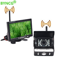 BYNCG Built in Wireless Ir Night Vision Rear View Back up Camera System + 7 HD Monitor for RV Truck Trailer Bus