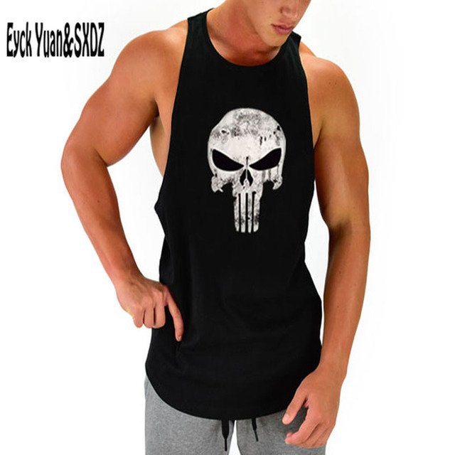 ac83aeb0ab69b The Punisher Men Muscle Tank Tops T-shirt Bodybuilding Clothing Singlets  Fitness Vset Loose Gymshark Mens Tanks Undershirt Top