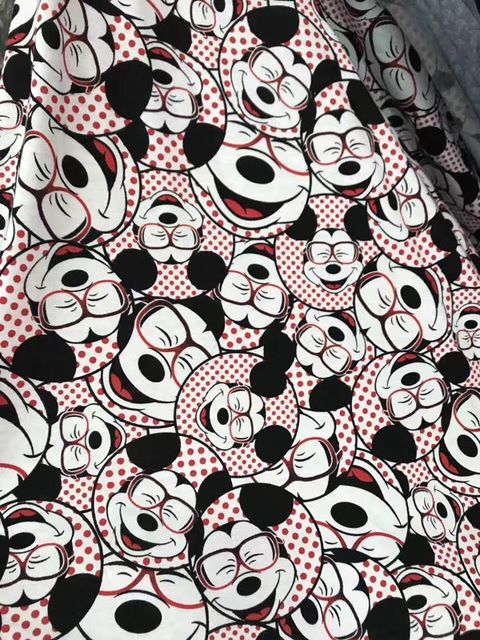 430d86355b2 50x160cm glasses mickey baby soft cotton knitted fabric printed knitted  jersey bedding fabric DIY baby boy skirt fabric