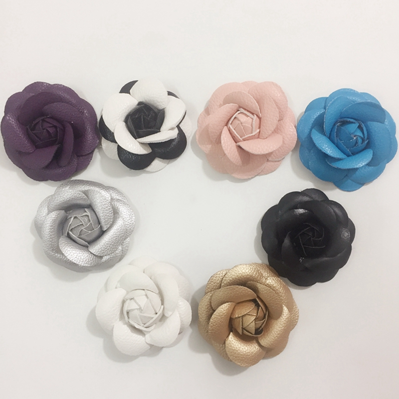 65MM 20Pcs ( Handcrafted & Pu Leather Cloth ) PU Cloth Flower Art Camellia Jewelry Findings&Garment Accessories image