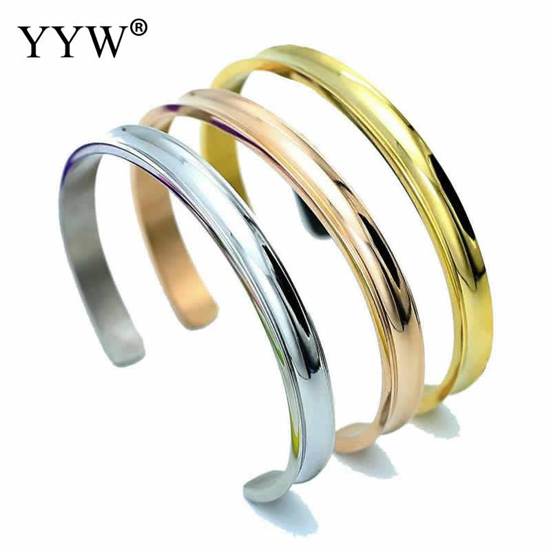 2018 new fashion Titanium Steel Cuff simple Bangle plated for woman opening bangle gold color jewelry 8Inch