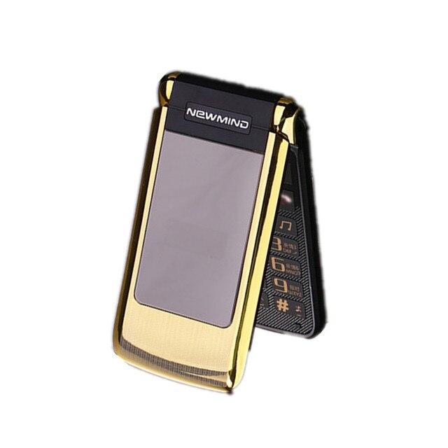 Original Newmind V518 unlocked flip dual double screen Dual SIM vibrate senior mobile cell phone big letters old man phone GPRS