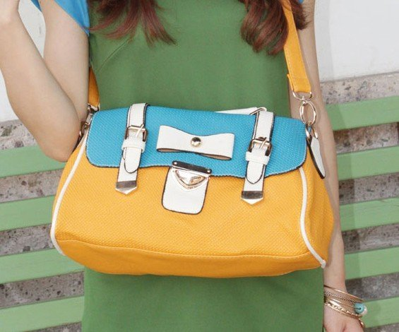 New arrival June ladies 2012  fashion handbag bow mixed Candy colors STYLE  PU  handbag ssbp88