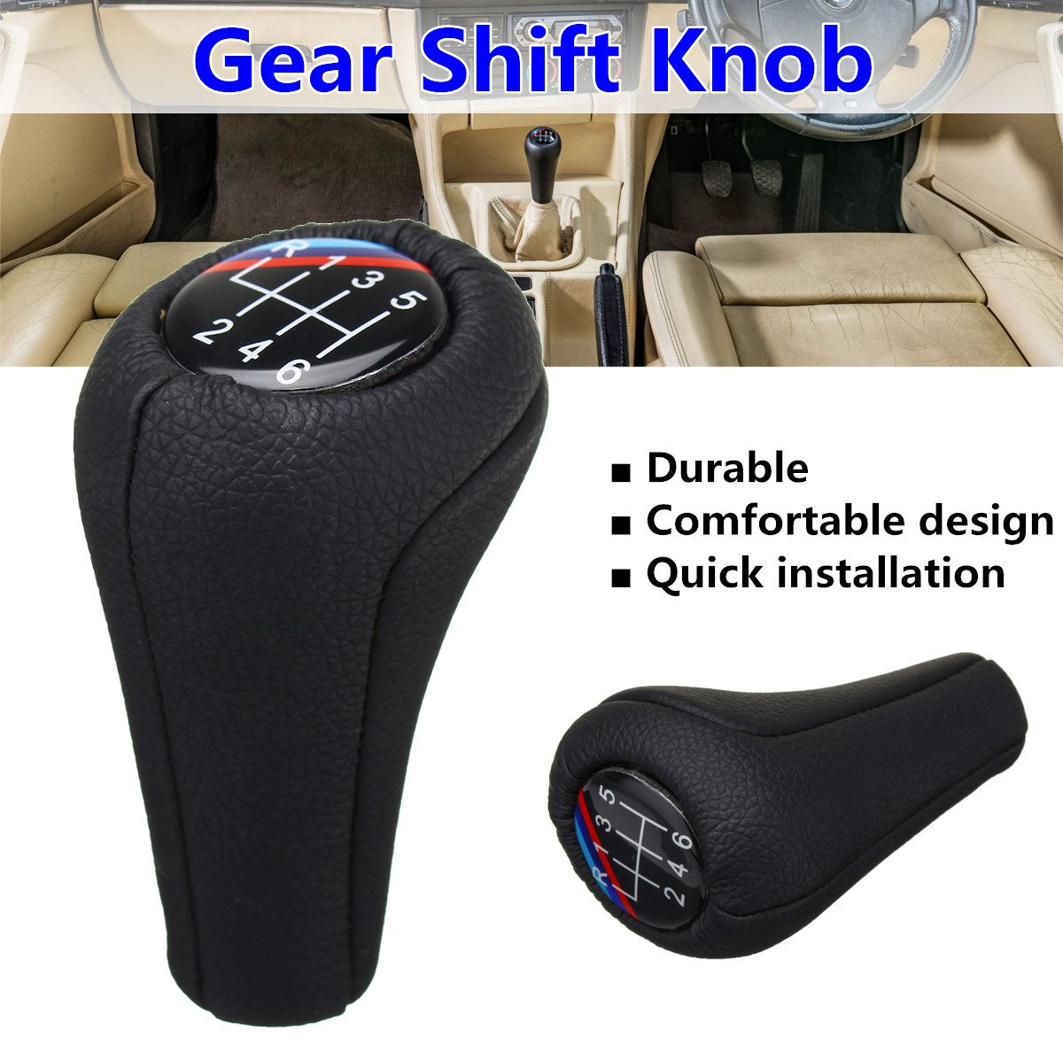 Leather 5 Speed 6 Speed Manual Car Gear Shift Knob For BMW E92 E91 E90 E60 E46 E39 E36 M3 M5 M6