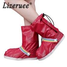 Lizeruee Waterproof Reusable Motorcycle Cycling Bike Rain Boot Shoes Drawstring Button Anti-Slip Shoe Covers For Men Women CS505