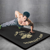 Men's Fitness YOGA MAT 15mm Extra Thick High Density Exercise Yoga Mat with Carrying Bag Skeleton Printing Non slip Pilates Mats
