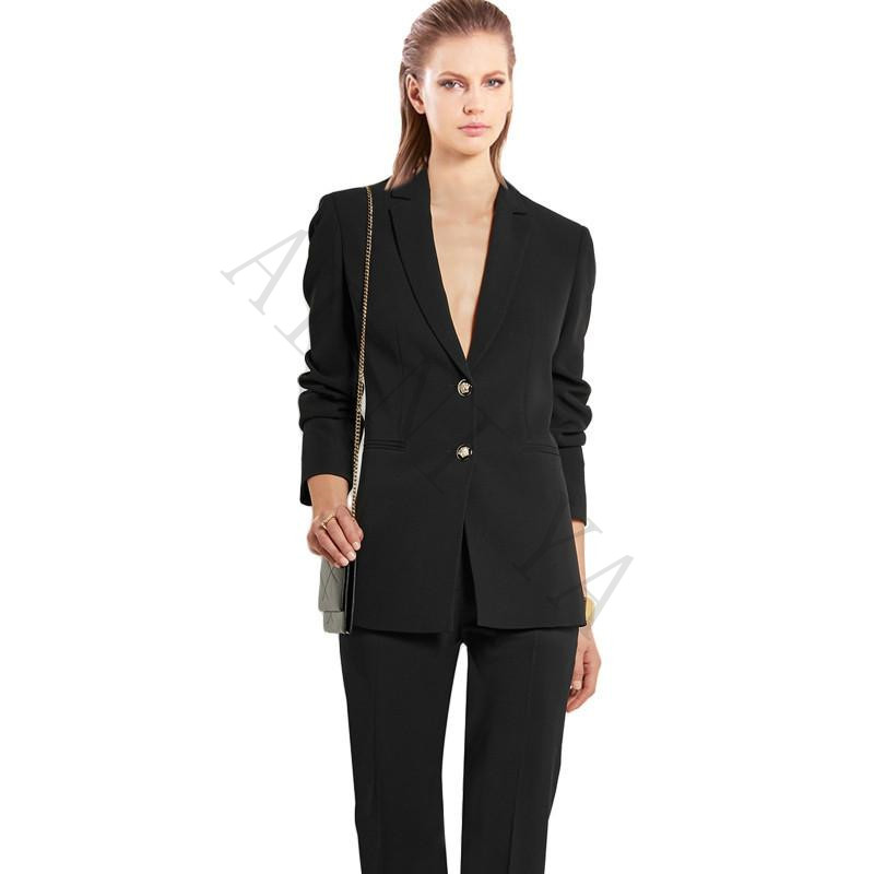 Womens Business Suits Slim Fit Black Female Office Uniform Formal Work Wear Slim Ladies Trouser Suit 2 Piece Two Buttons Custom