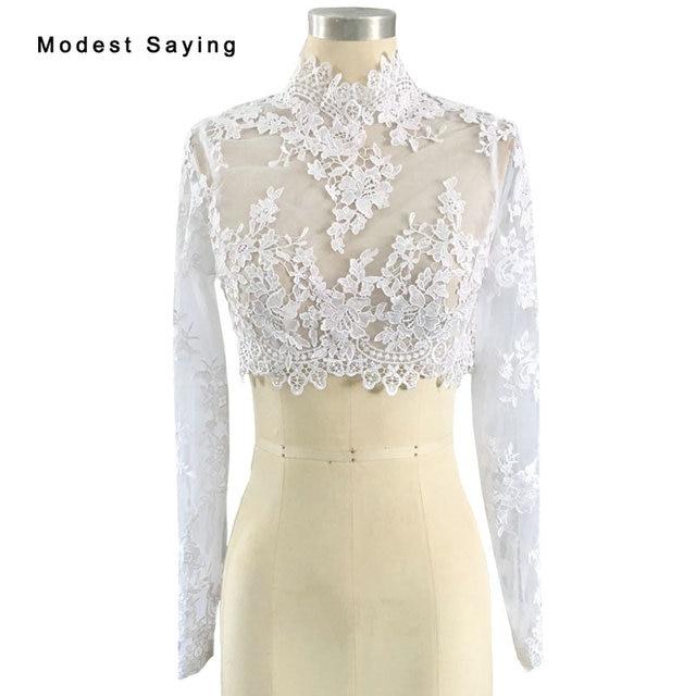 Ivory Elegant High Neck Lace Long Sleeves Wedding Boleros 2017 ...