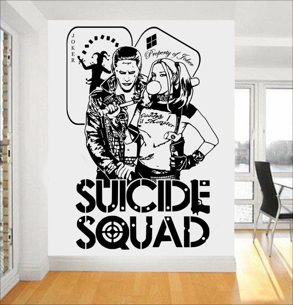 Quotes suicide squad wall decal harley quinn joker dc stickers for kids bedroom vinyl art mural task force x home decor syy451