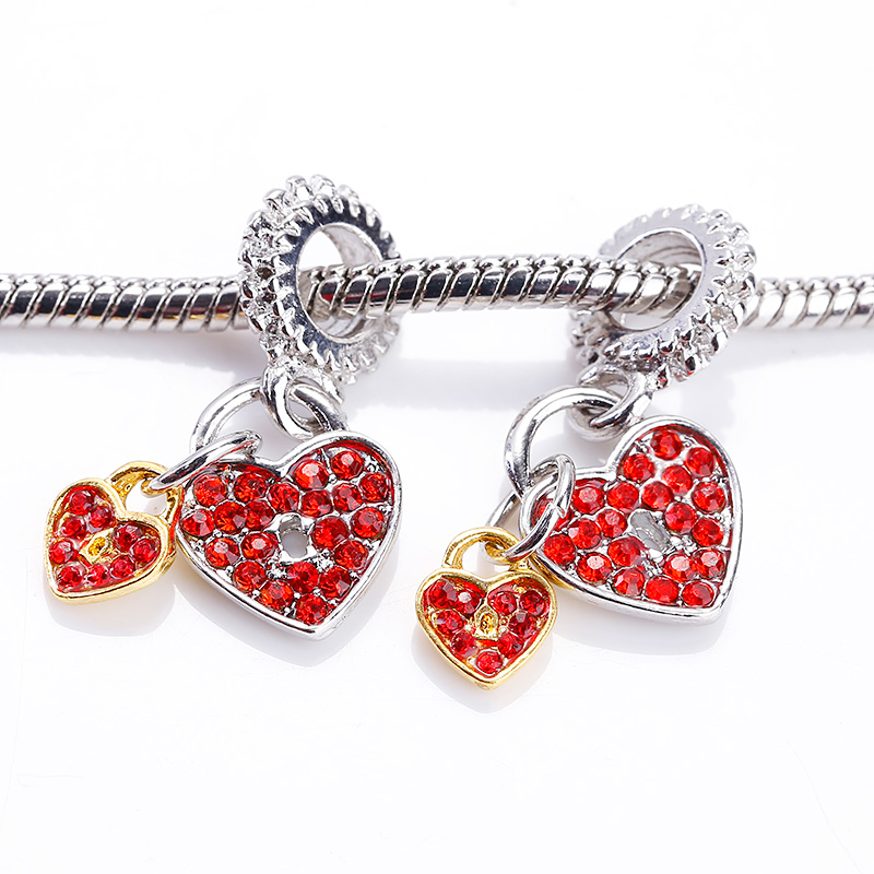 Kupla Vintage Silver Heart Beads fit Pandora Charms DIY Fashion Red Rhinestone Metal Zinc Alloy Hearts Beads for Jewelry Making