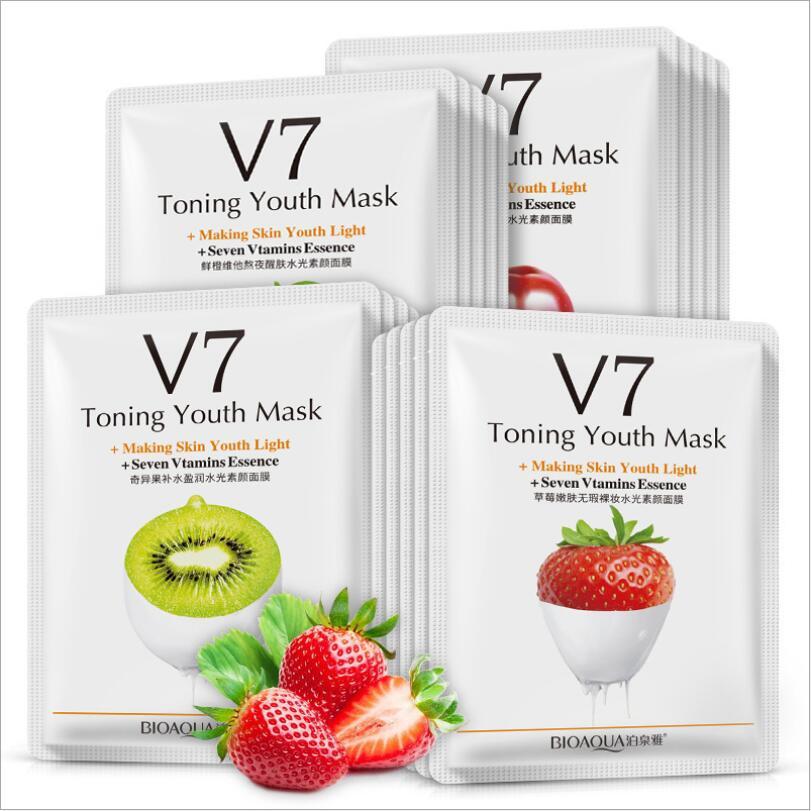 100pcs Bioaqua Face Mask Natural Fruit Essence Sheet Mask Moisturizing Nourishing Skin Care Beauty V7 Vitamin