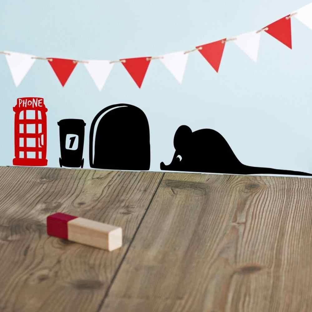 3d забавные наклейки на стену с отверстием для мыши, пиццы, наклейки виниловые на стены, художественное украшение для дома, винтажные обои