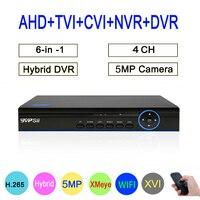New XMeye 4CH 4Channel 5MP Hybrid Coaxial WIFI 6 in 1 XVI TVI CVI NVR AHD CCTV DVR Surveillance Video Recorder Free Shipping
