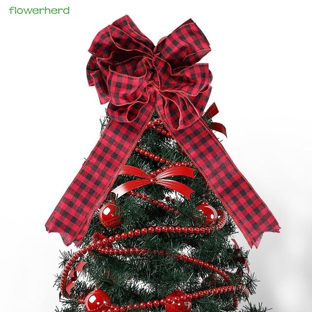 1pc 47cm big size red bow christmas tree decoration diy christmas garland supply home door decor - How To Make A Big Christmas Bow