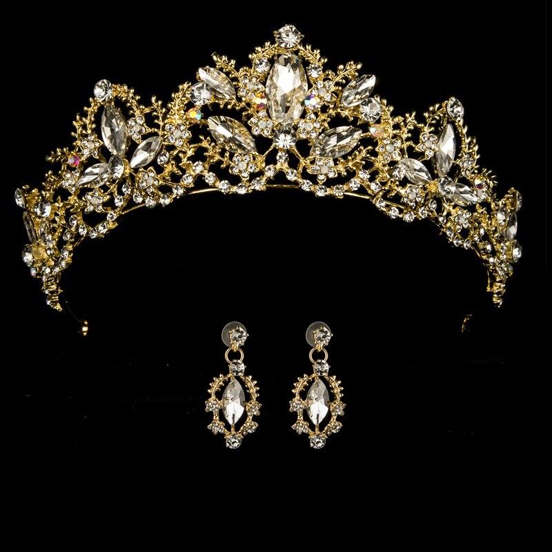 Princess Crown Headband Hair-Jewelry Tiaras-Leaf Wedding-Hair-Accessories Crystal Bride