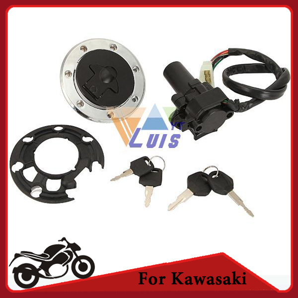 Motorcycle Fuel Cap Tank Cover Ignition Switch Key Set for Kawasaki ZZR400 ZZR600 ZX-6R ZX-7R ZX-7RR ZXR400 ZX-9R ZXR750