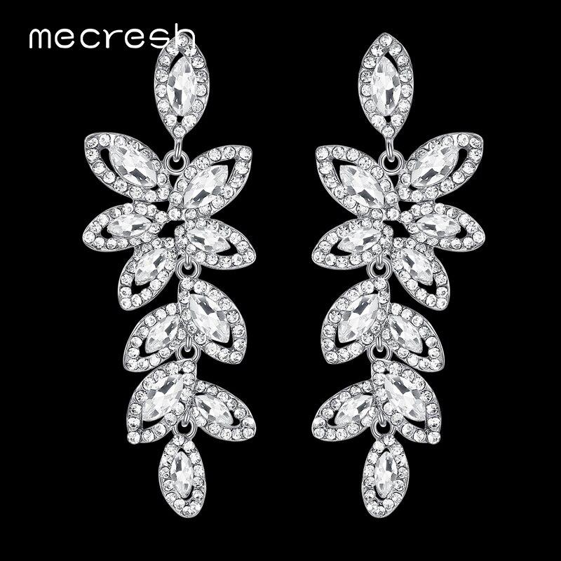 Большие длинные серьги-подвески Mecresh серебряного цвета с кристаллами 2018 в форме листьев, висячие серьги для свадебной вечеринки невесты ...