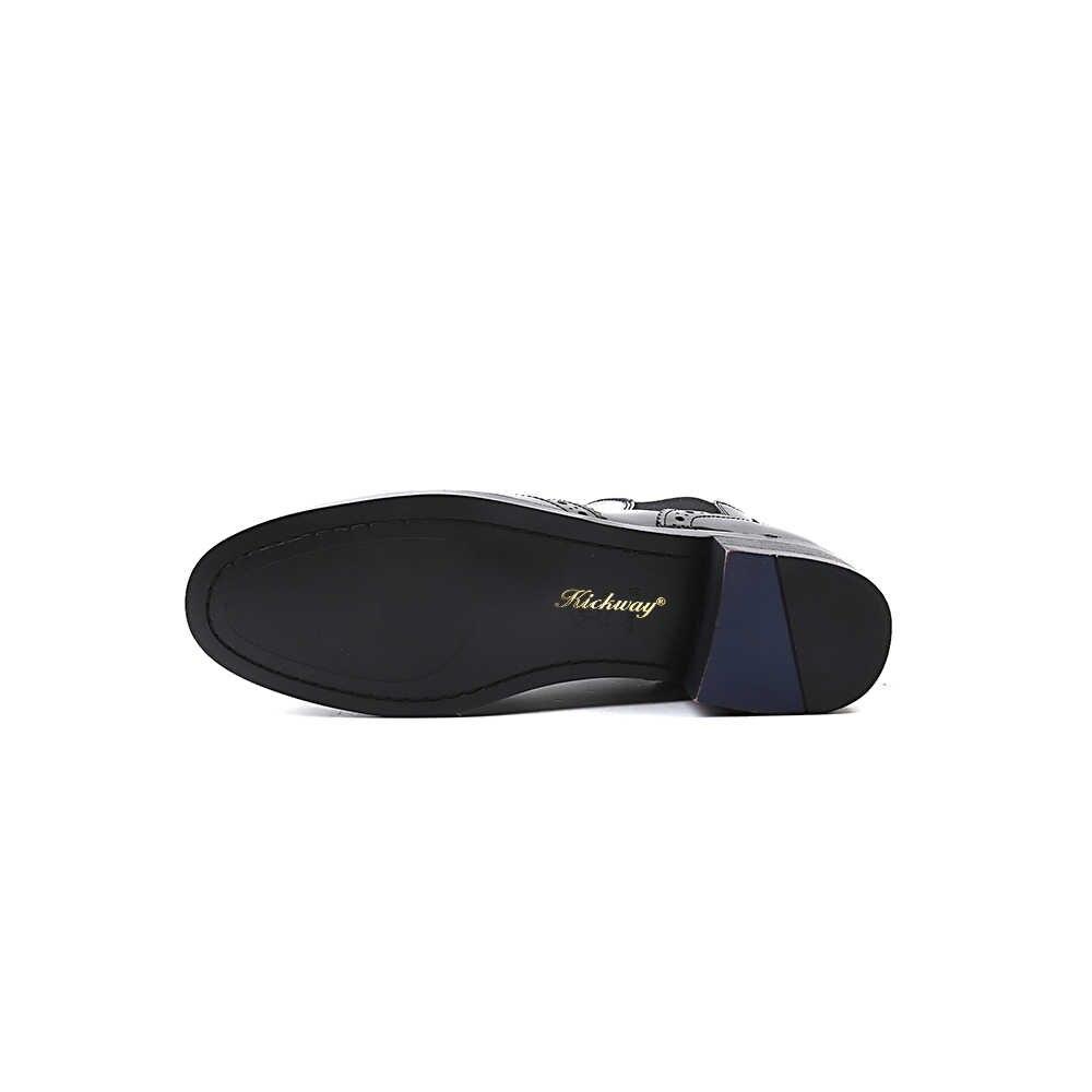 Kickway 100% Echte Koe Lederen Enkellaarsjes chelsea Laarzen dame Oxford schoenen Handgemaakte Britse schoenen voor vrouwen winter laarzen Vintage 42
