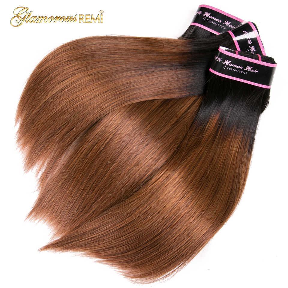 Ombre brezilya saçı düz 1B/30 kahverengi insan saçı örgüsü demetleri ile kapatma iki ton Remy saç atkı uzantıları 10 ila 26 inç