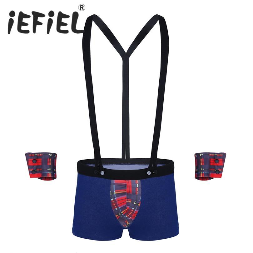 iEFiEL Mens Lingerie 3Pcs Male Plaid Bulge Pouch Costume Briefs Underwear with Y Back Elastic Suspenders and Cuffs Set Panties