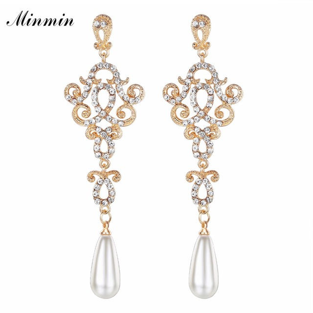 ed9d7784a401e US $3.45 30% OFF|Minmin Trendy Simulated Pearl Gold Color Crystal  Chandelier Long Drop Earrings for Woman 2018 Statement Fashion Jewelry  EH1091-in ...