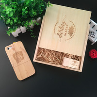 2017 New 3 IN 1 Wooden Usb + Wooden Photo Box + Wooden Phone Case Custom Logo Usb 3.0 Memory Flash Stick Pen Drive for Wedding