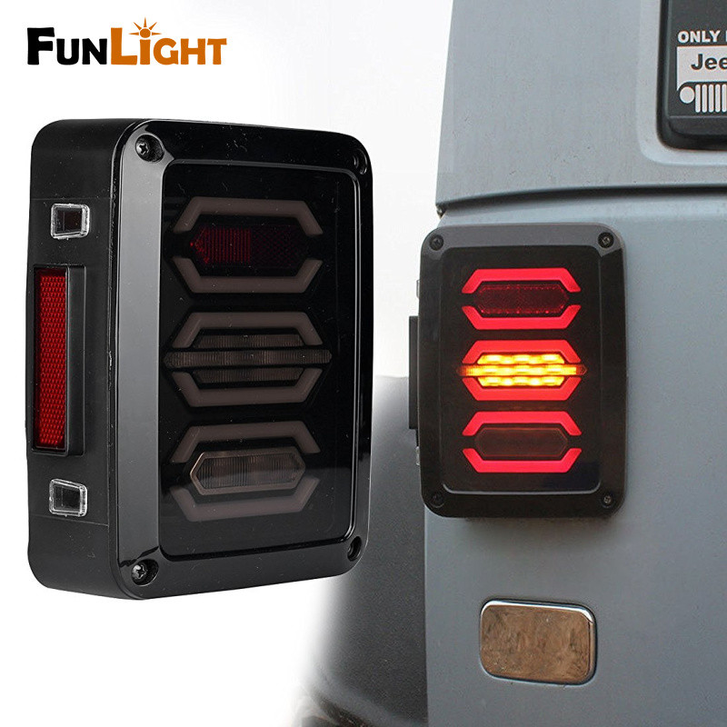 Free shipping Smoke Lens LED Diamond Tail Light Rear Turning Brake Light for 2007-16 Jeep Wrangler JK LJ for jeep wrangler jk 2007 2016 tail light diamond smoke led tail light
