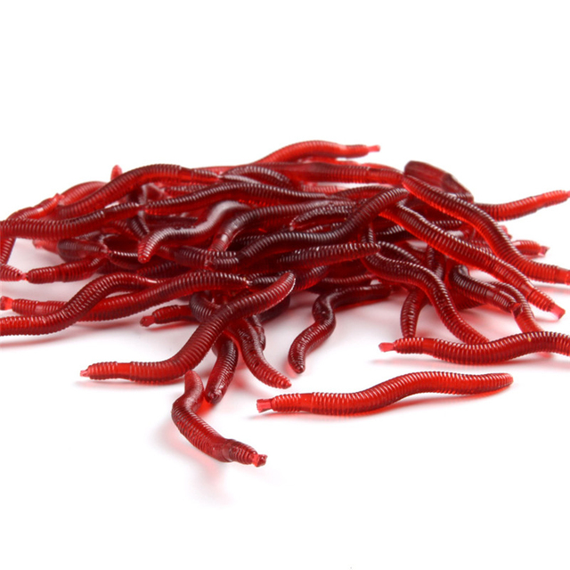 30pcs/lot Fishing Lure Simulation Earthworm Red Worms Isca Artificial Free Shiping Soft Bait Lifelike Fishy Smell Accessories