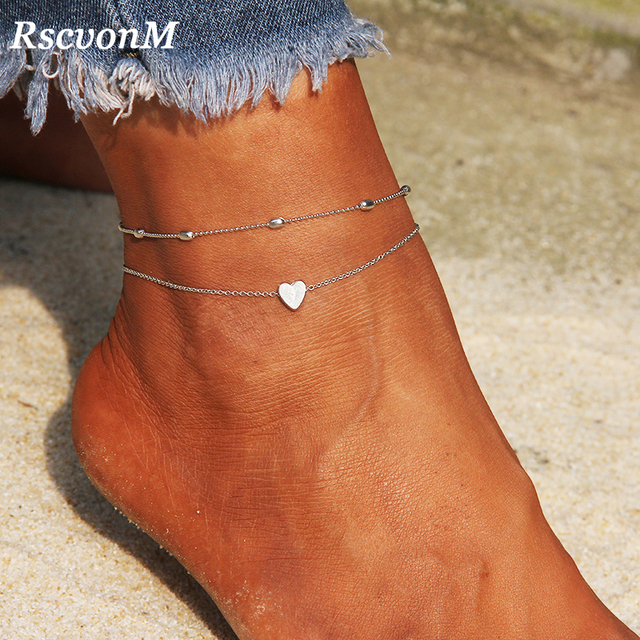 RscvonM หัวใจหญิง Anklets เท้าเปล่าโครเชต์รองเท้าแตะเท้ารองเท้าแตะขา New Anklets เท้าข้อเท้าสร้อยข้อมือผู้หญิงขา