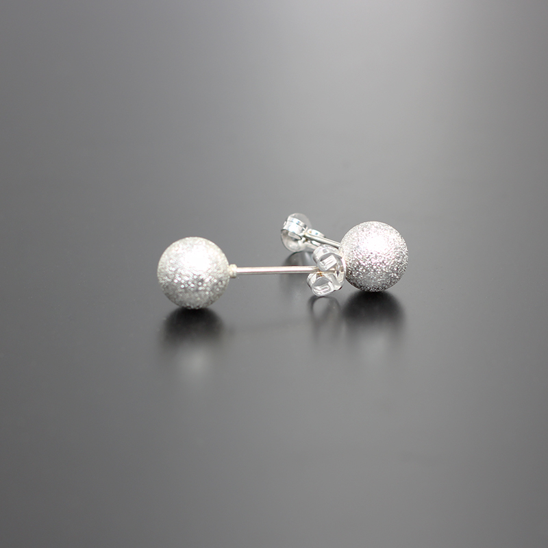 Hot Sale Luxury Classic Silver Earing Fashion Matte Ball Shape Stud Earrings For Women Girl Simple Round Earring High Quality