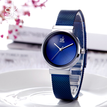 Shengke Fashion Stainless Steel Wrist Watch for Woman Blue Silver Mesh Strap Ladies Quartz Clock Luxury Top Brand Female Watches Наручные часы