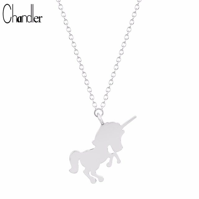 Chandler unicorn horse pendant necklaces for women jumping animal chandler unicorn horse pendant necklaces for women jumping animal charm long chain metallic polished casual bib mozeypictures Images