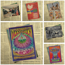 Woodstock rock music festival/retro craft paper decorative painting posters classic poster vintage  30*21cm