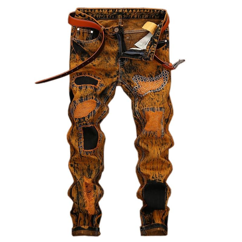 2018 Autumn Fashion Vintage Men's Ripped Jeans Hip Hop Pants Slim Streetwear Destroyed Print Hole Casual Male Trousers Plus Size