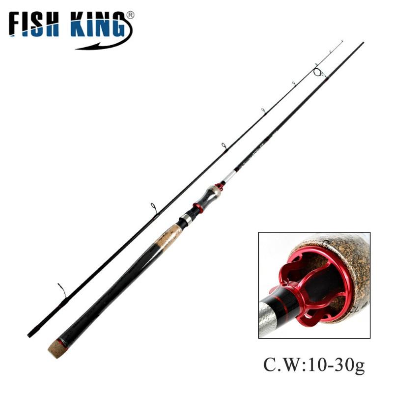 все цены на FISH KING 2 Section H power weight 10-30G Carbon Spinning Fishing Rod Fuji guide 10-20LB 2.1/2.4/2.7m Travel Fishing Lure Rod онлайн