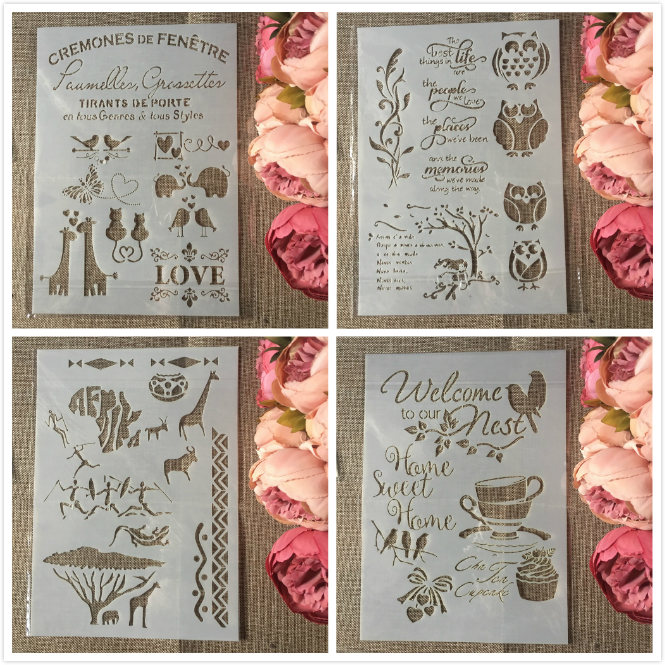 4Pcs/Set A4 Animals Owl Bird DIY Layering Stencils Painting Scrapbook Coloring Embossing Album Decorative Template