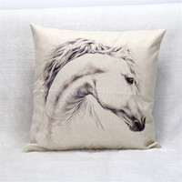 45 45cm Linen Cotton Cushion Case Cover White Horse Printed Home Decorative Pillowcases Throw Pillow