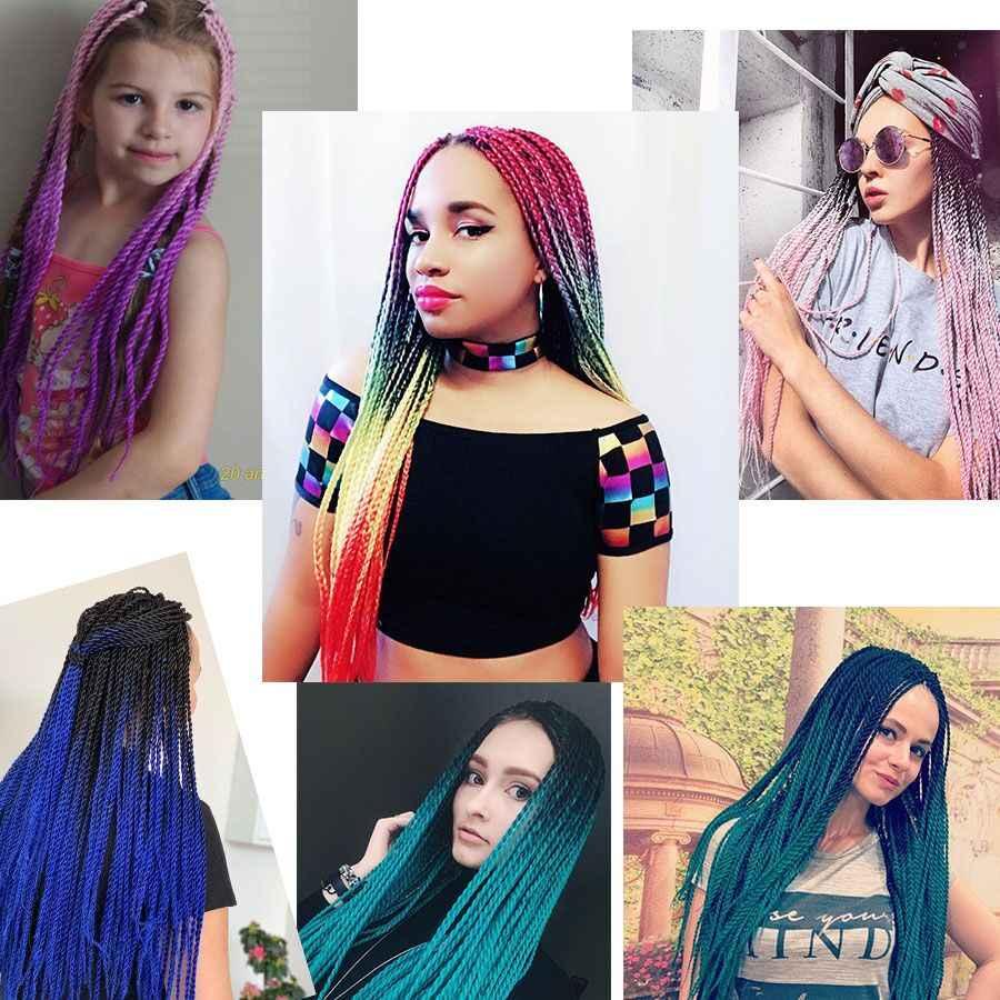 Омбре Сенегальские крученые крючки 24 дюйма синтетические плетеные волосы для наращивания черный серый розовый фиолетовый, синий, зеленый крючком волосы