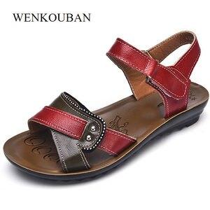 Image 2 - Женские сандалии из натуральной кожи на плоской подошве, летние шлепанцы на липучке, пляжная обувь, модные красные сандалии