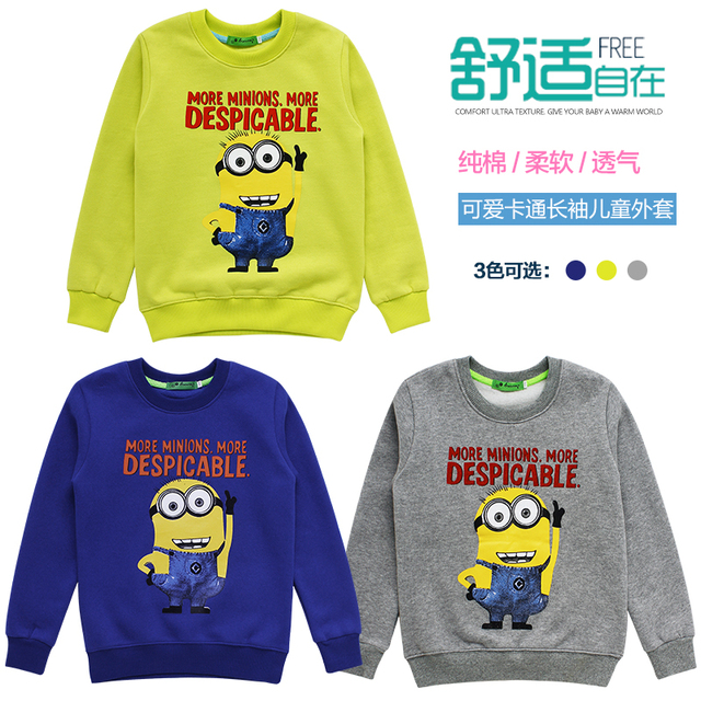 3 Color Cotton Minions Boys Clothes T-Shirt,Kids Minion Clothes For Girls Long Sleeve O-neck T-Shirts Girls,Height 110-140cm