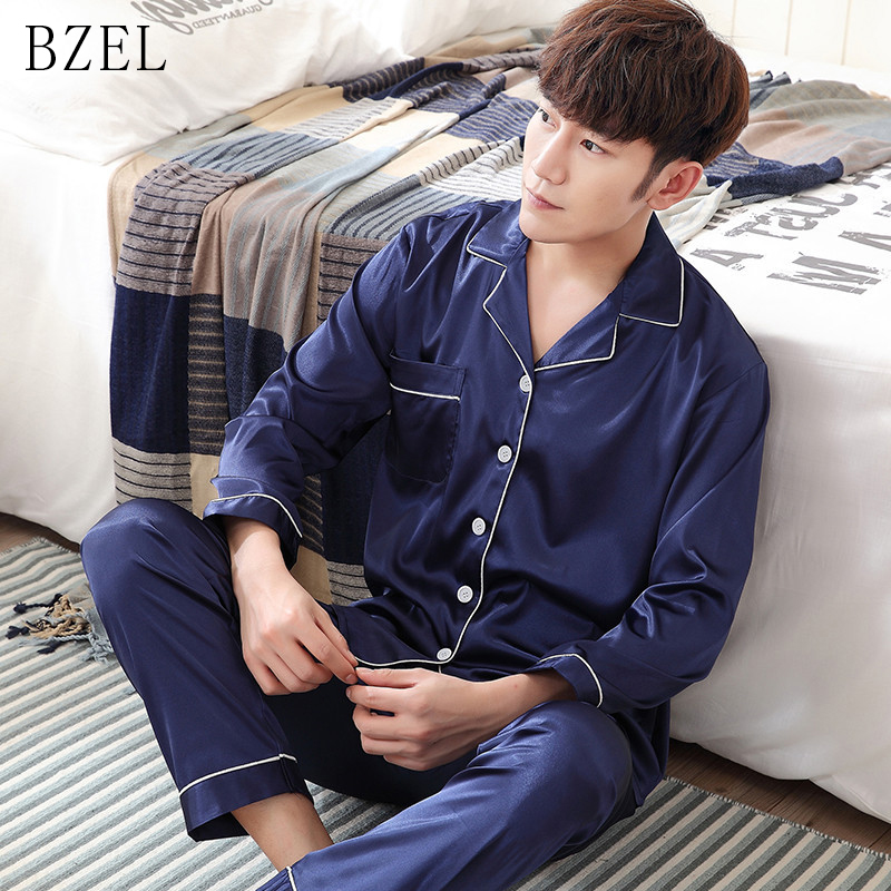 BEZL Men's Stain Silk Pajama Set Men Pajamas Long Sleeve Sleepwear Female Turn-down Collar Sleep Lounge Casual Home Wear L-3XL