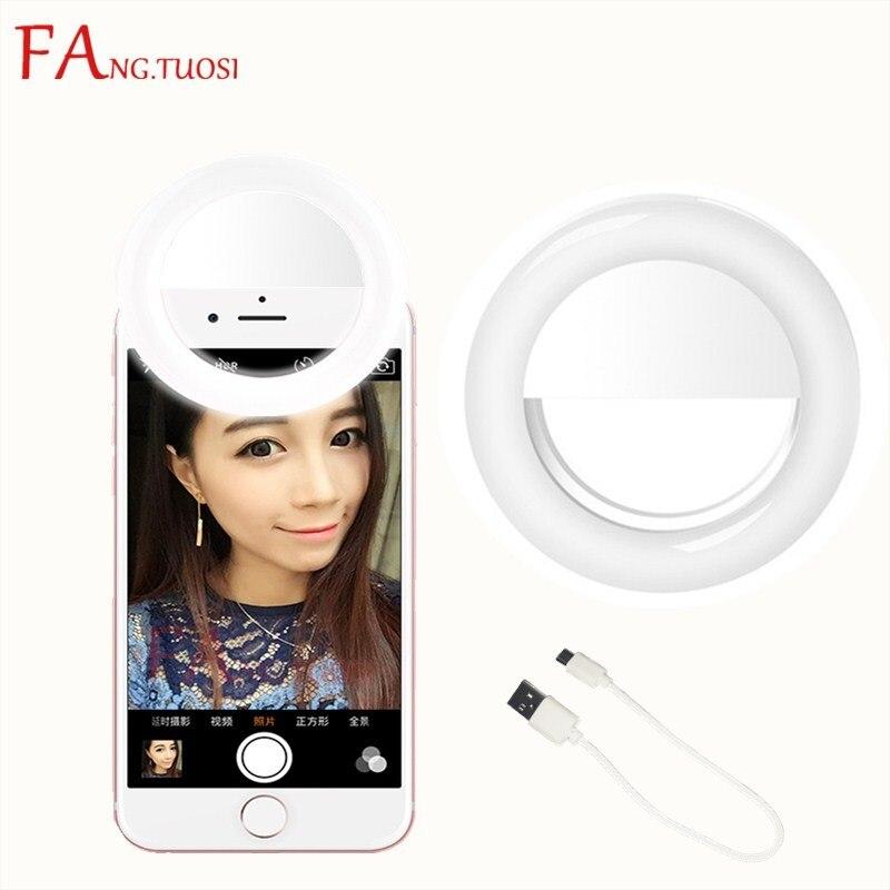 FANGTUOSI Selfie Anneau Lumière clip USB Charge Portable Flash led Caméra Téléphone selfie anneau licht vidéo lumière Nuit Améliorer