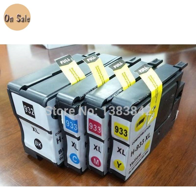 hisaint 4X inktcartridge voor HP932XL 933XL Officejet 6100 6600 6700 7110 met chips Gratis verzending Hot Koop